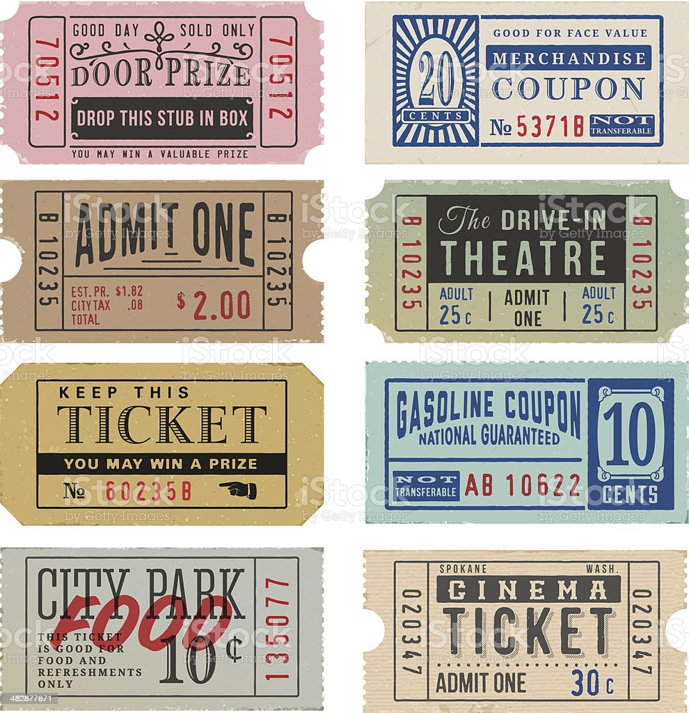 Vintage Tickets and Coupons royalty-free stock vector art