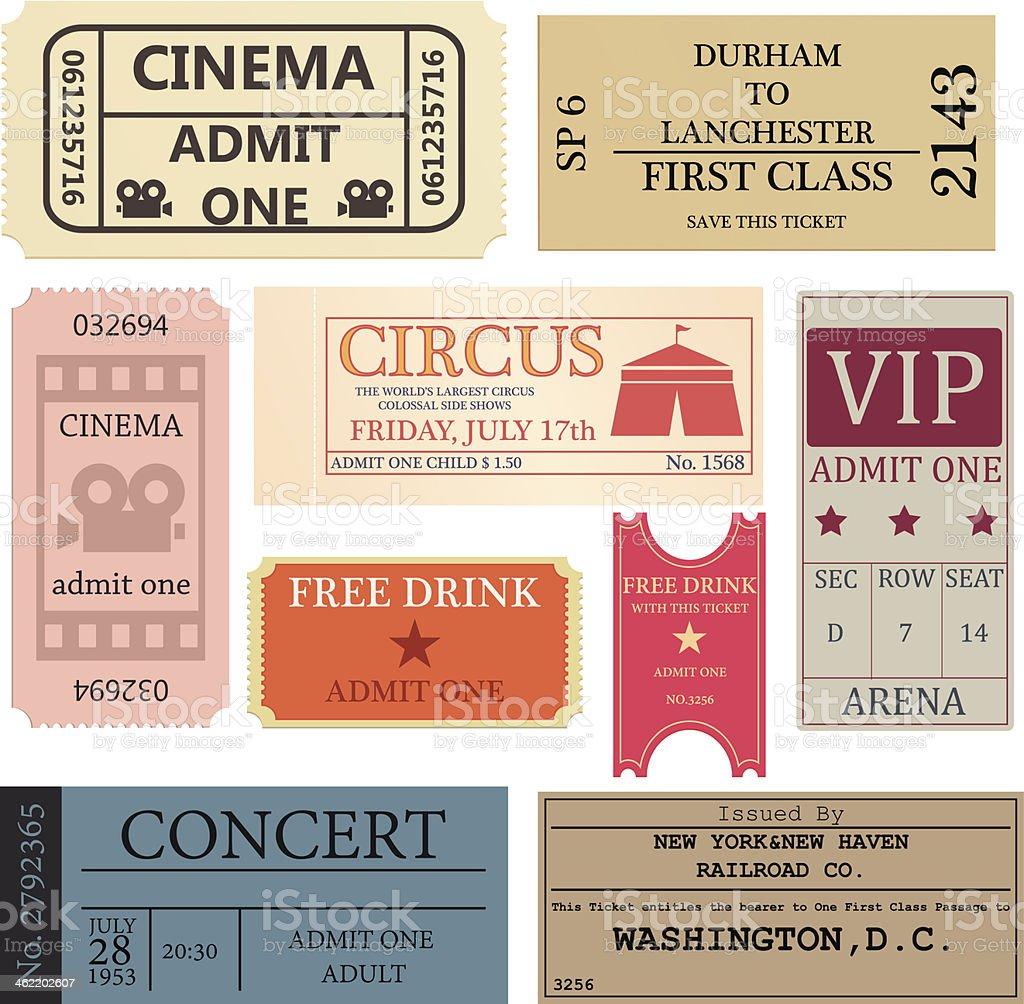 Vintage tickets vector art illustration