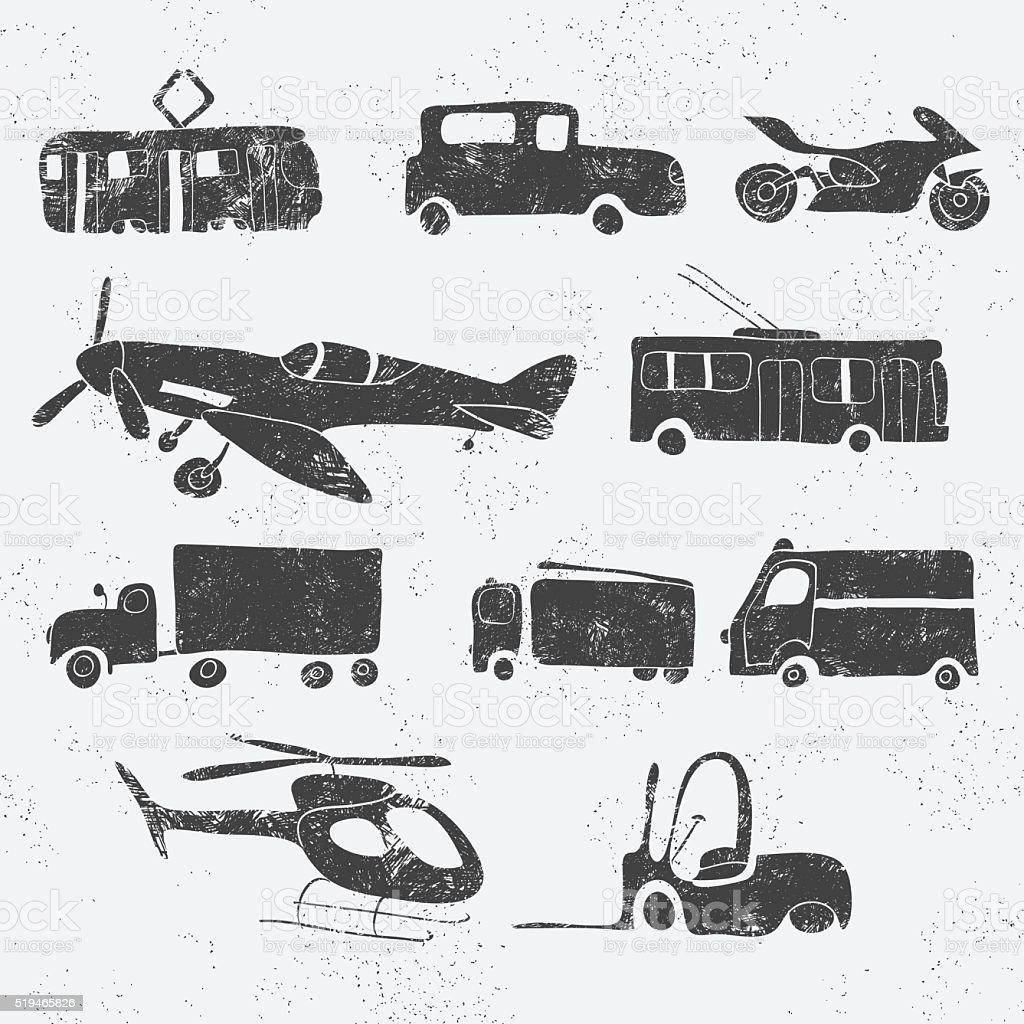 vintage transport set vector art illustration