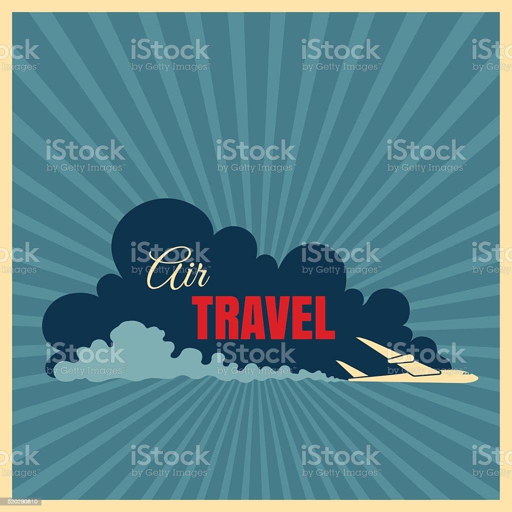 Vintage travel illustration with plane vector art illustration