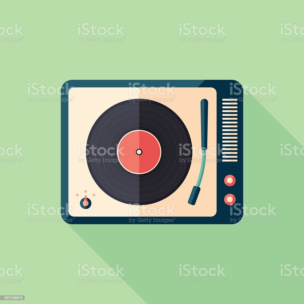 Vintage turntable flat square icon with long shadows. vector art illustration
