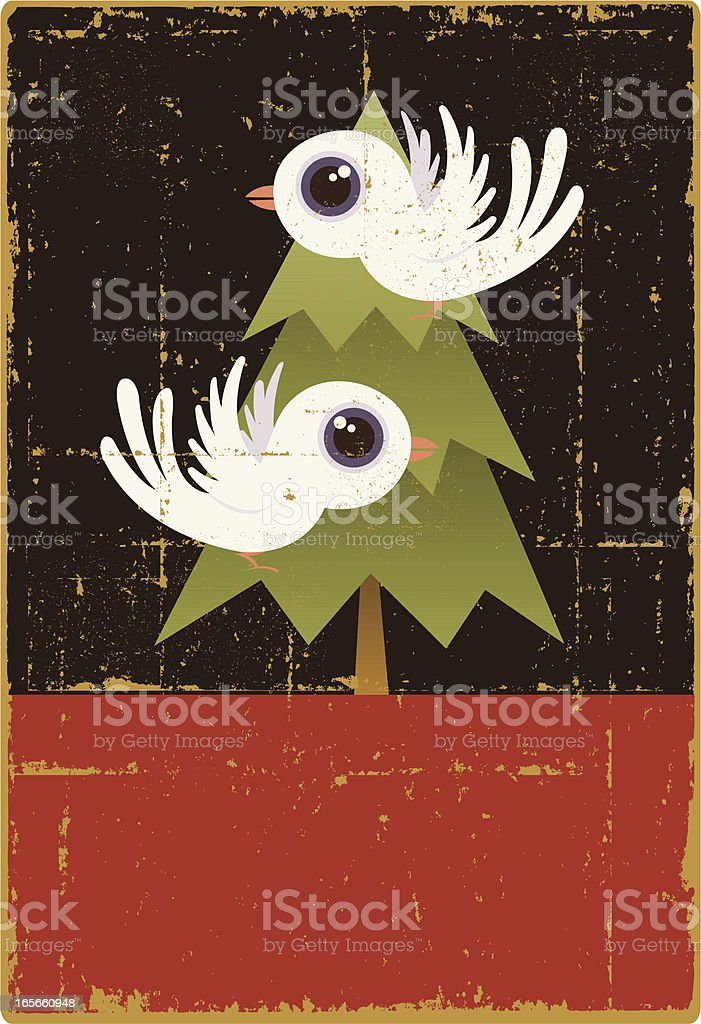 Vintage Two Turtle Doves royalty-free stock vector art