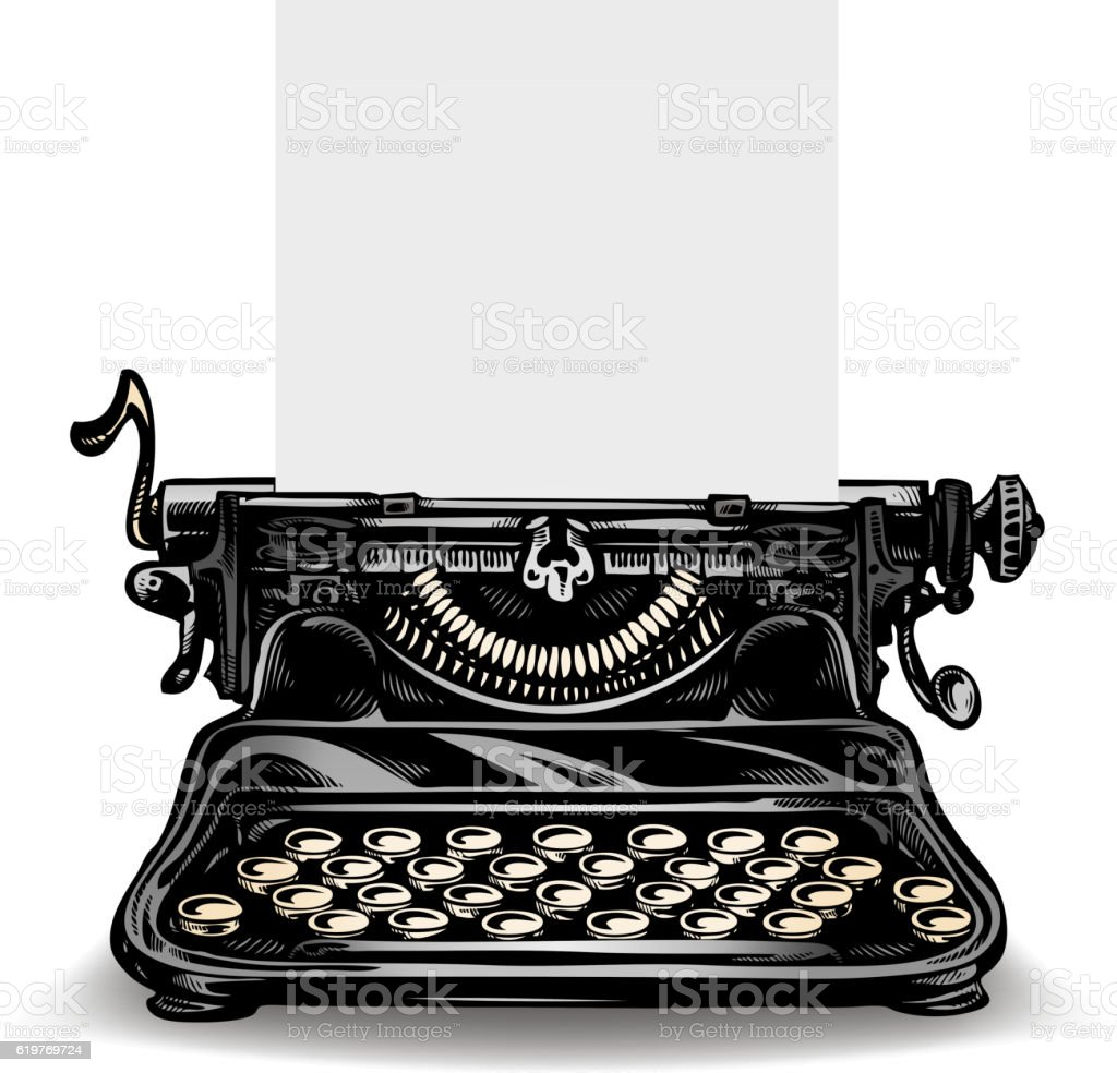 Vintage typewriter isolated on white background. Vector illustration vector art illustration