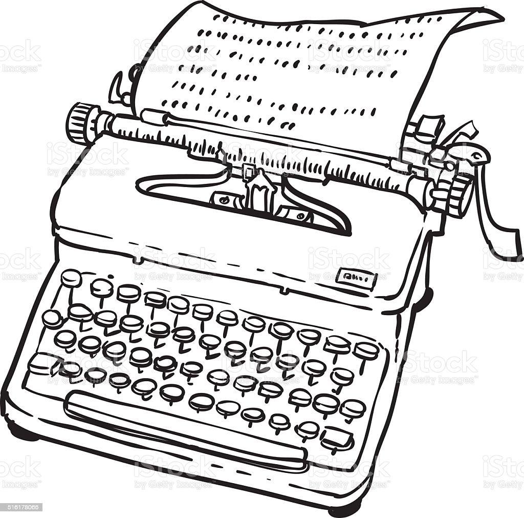 Vintage Typewriter Machine vector art illustration
