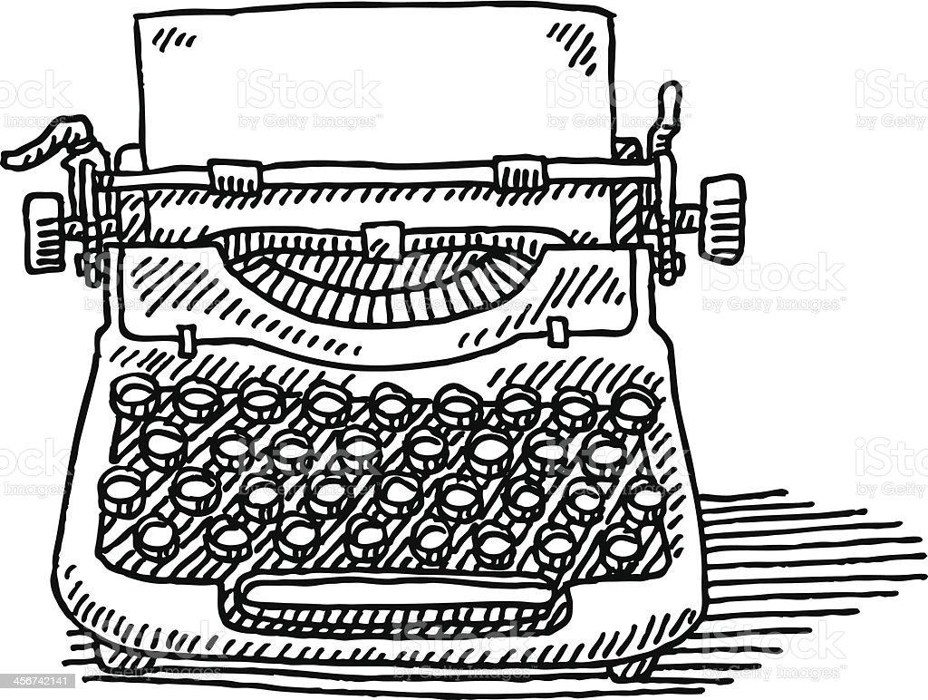 Vintage Typewriter Paper Drawing vector art illustration