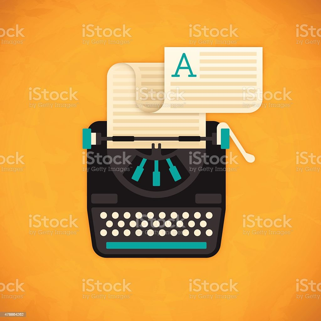 Vintage Typewriter vector art illustration