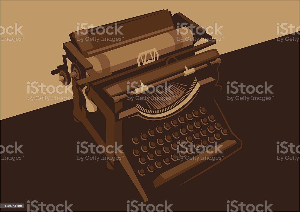 Vintage typewriting machine. vector art illustration