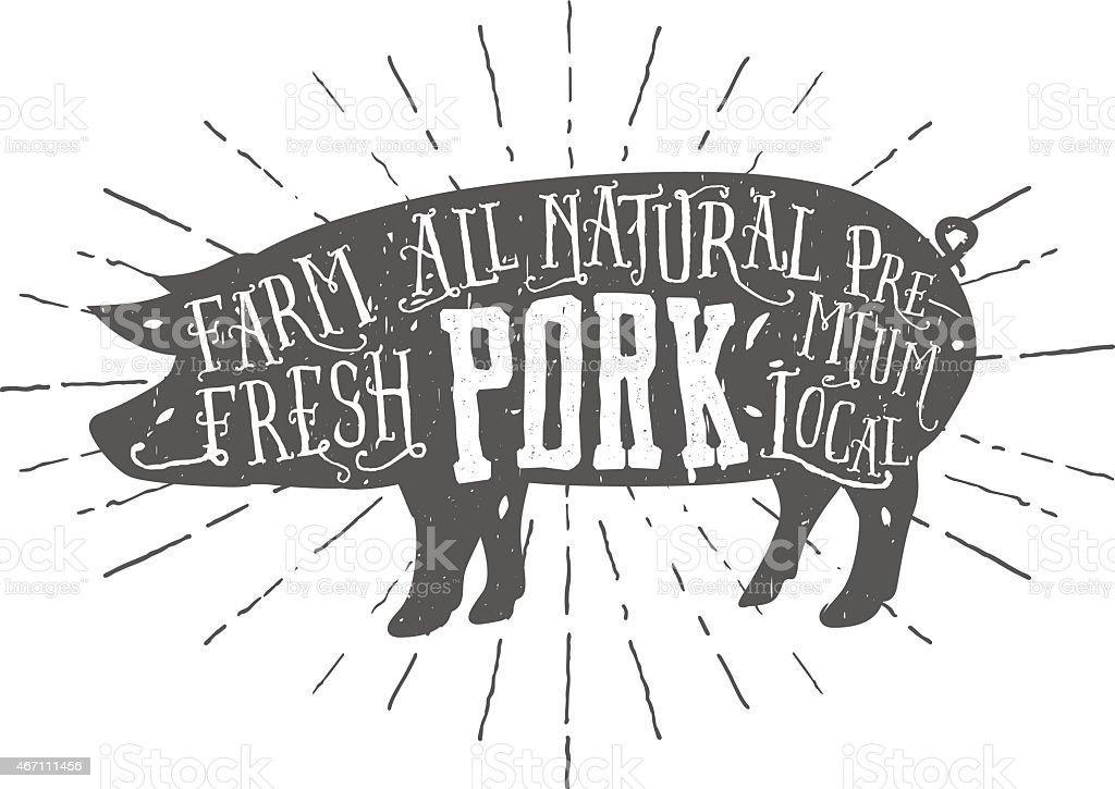 Vintage typographic premium pork meat label vector art illustration