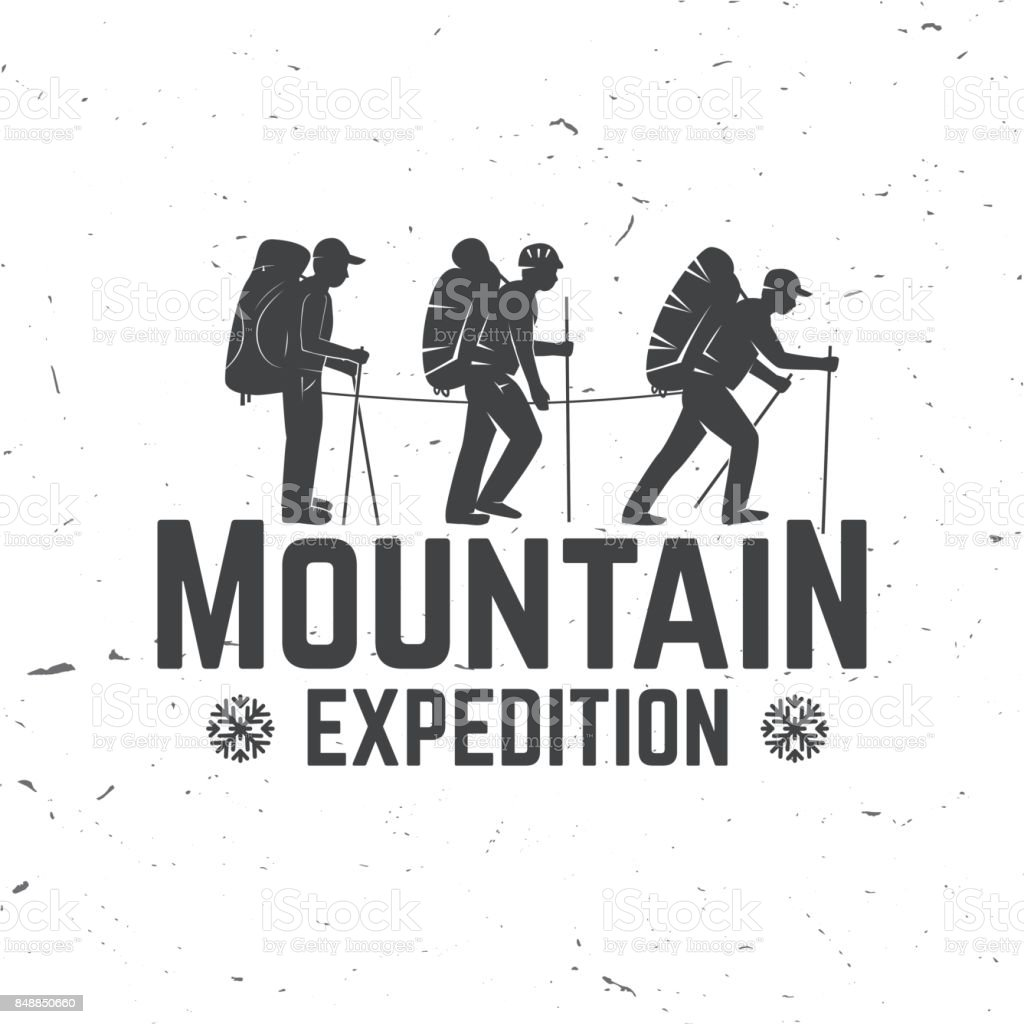 Vintage typography design with mountaineers and mountain silhouette vector art illustration