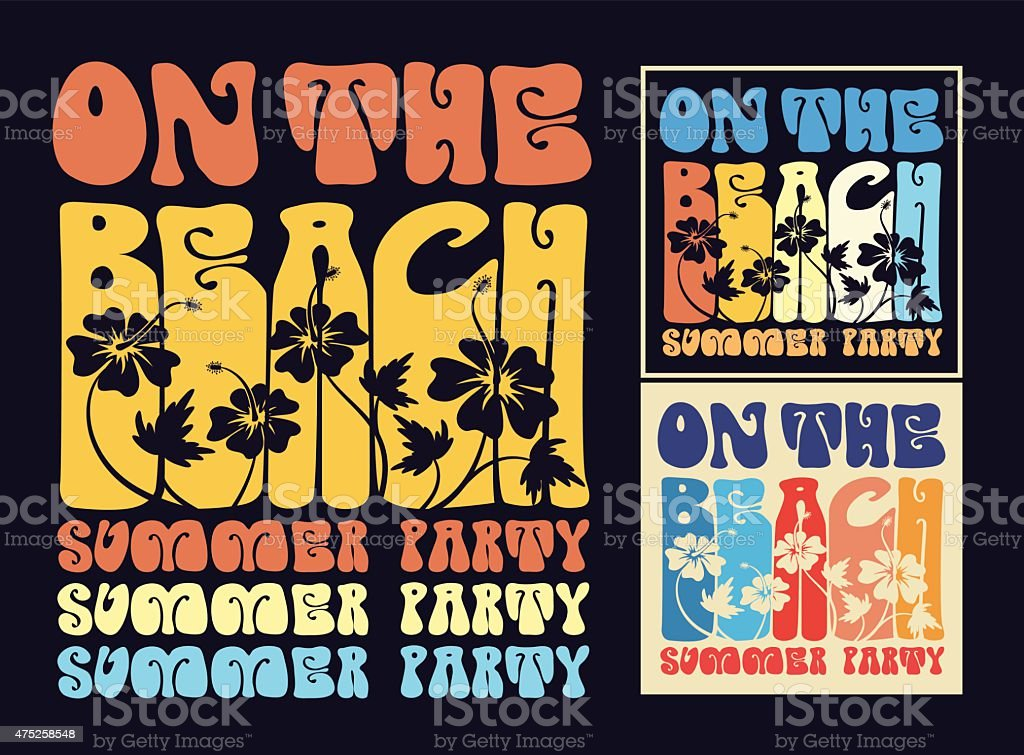 Vintage typography on the beach design For T-shirt vector art illustration