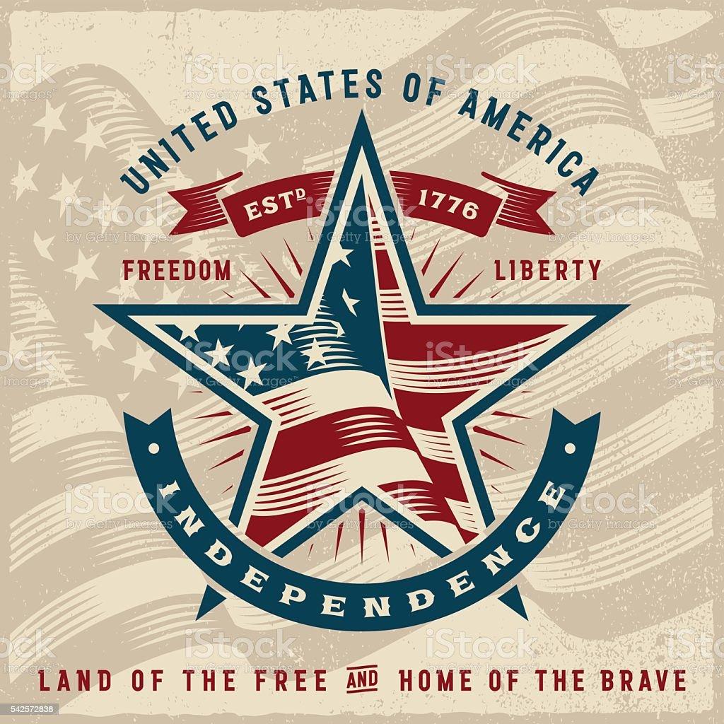 Vintage USA Independence Label vector art illustration