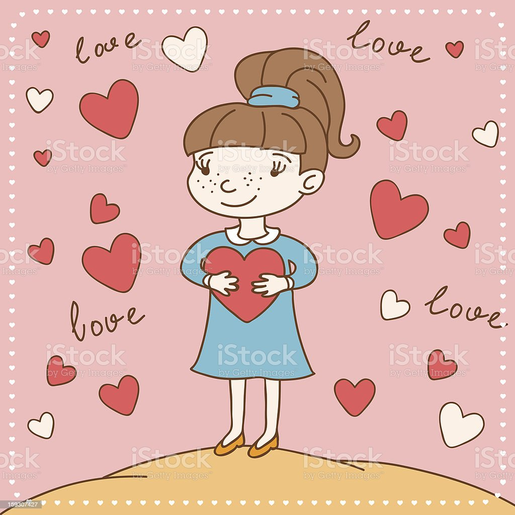 Vintage Valentine's day card of girl with heart. royalty-free stock vector art
