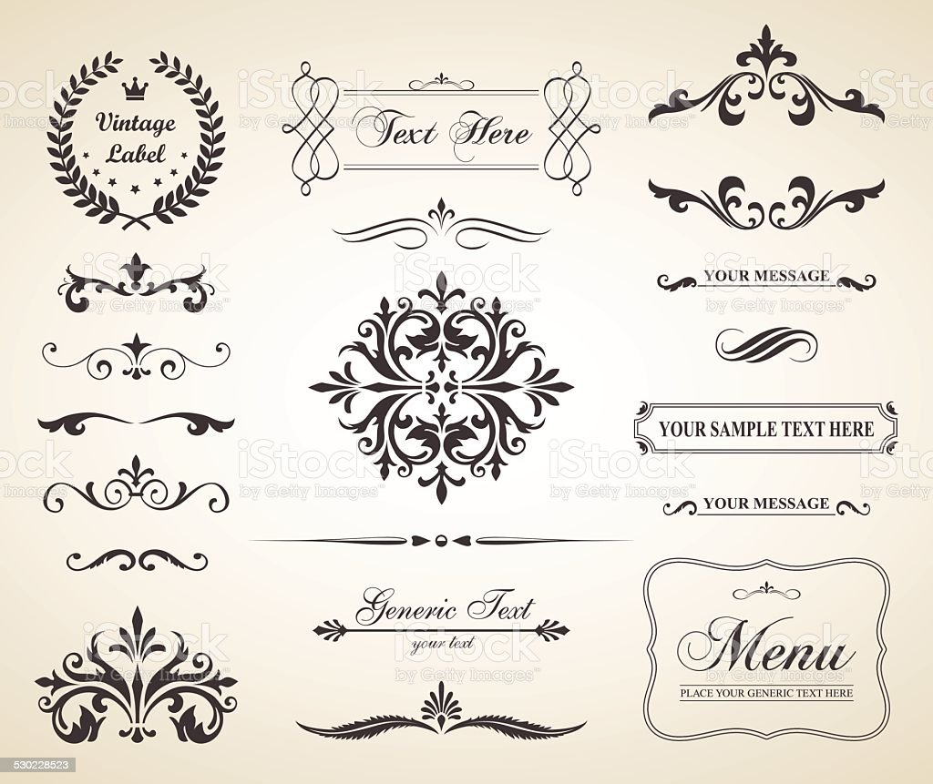 Vintage Vector Decorative Ornament Borders and Page Dividers vector art illustration