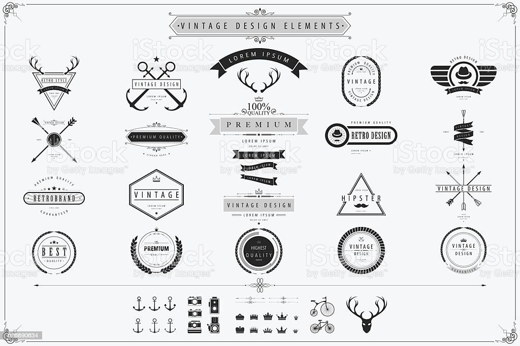 Vintage Vector Design Elements Stock Vector Art 626890634 Istock