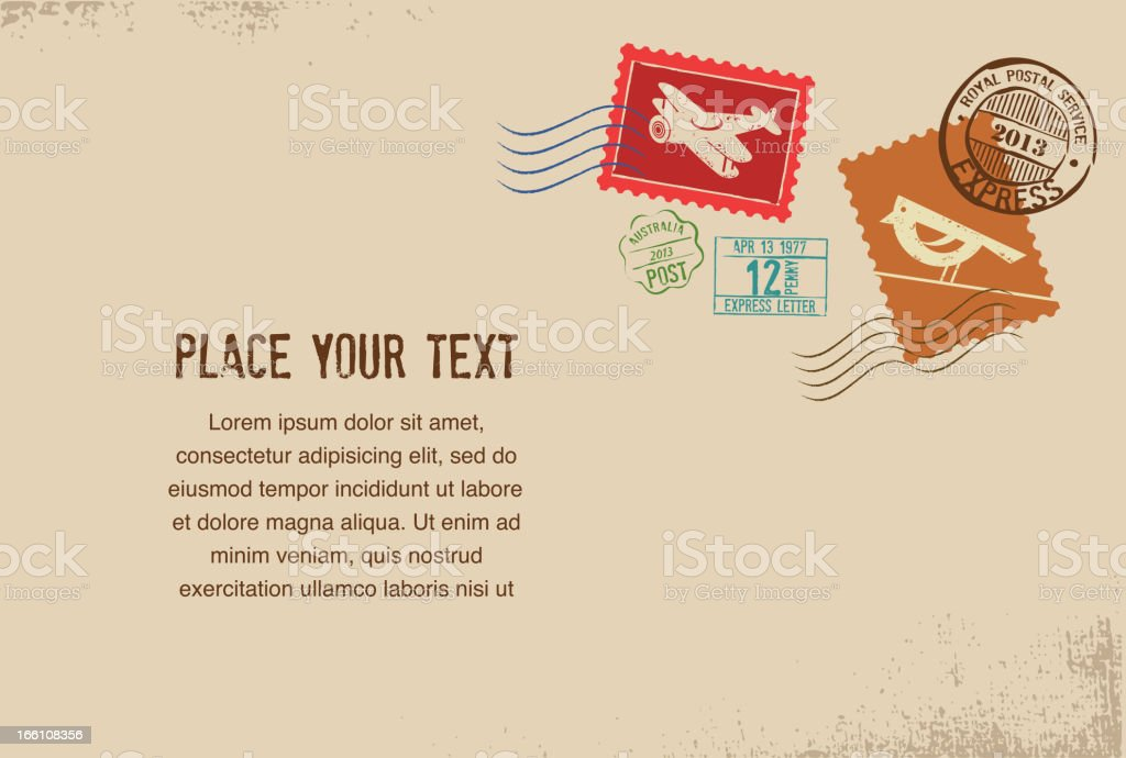 Vintage vector envelope with rubber stamps royalty-free stock vector art