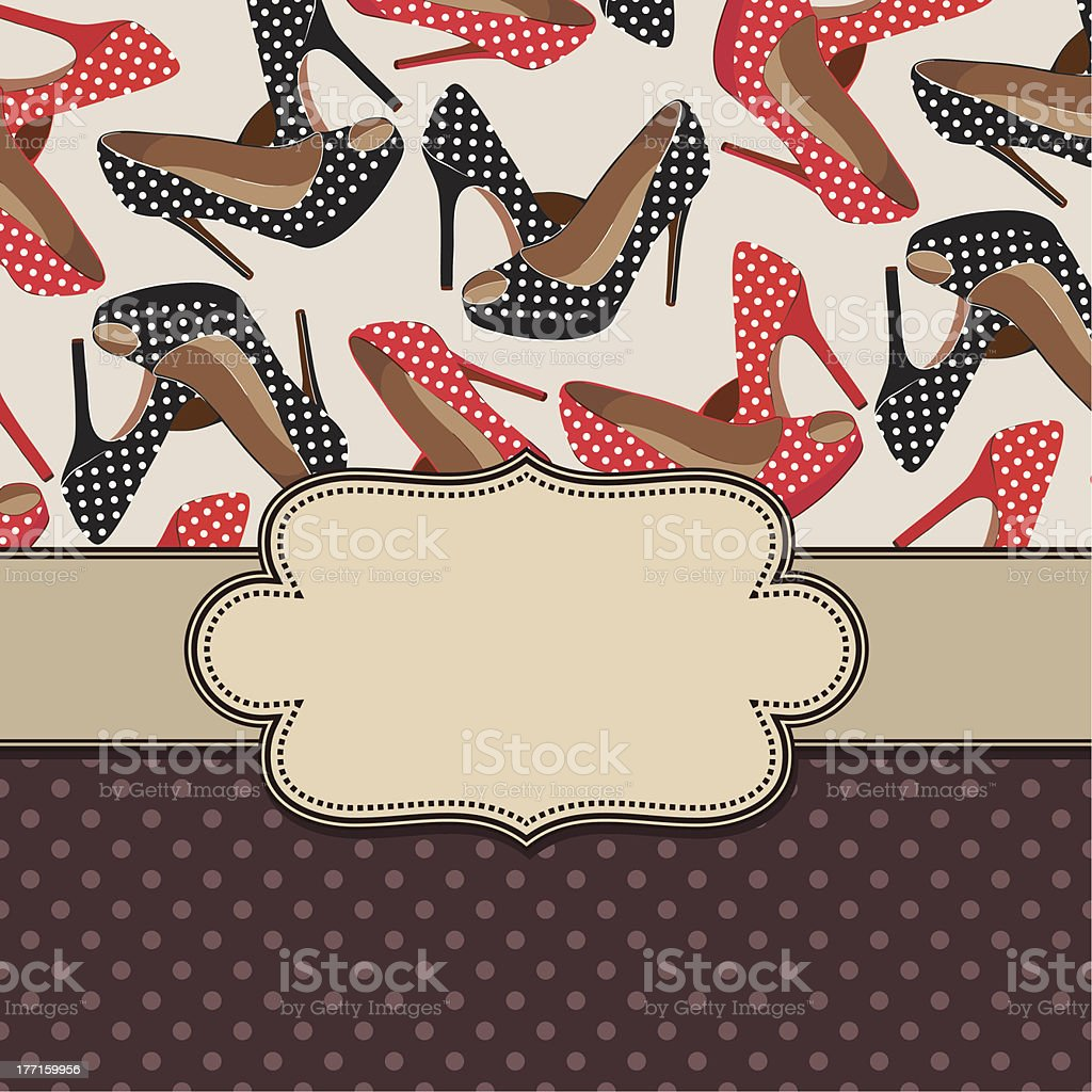 Vintage vector frame with shoes royalty-free stock vector art