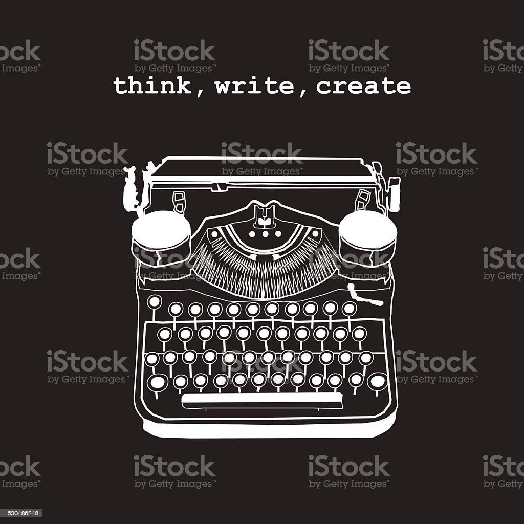 Vintage vector illustrations of retro typewriter vector art illustration