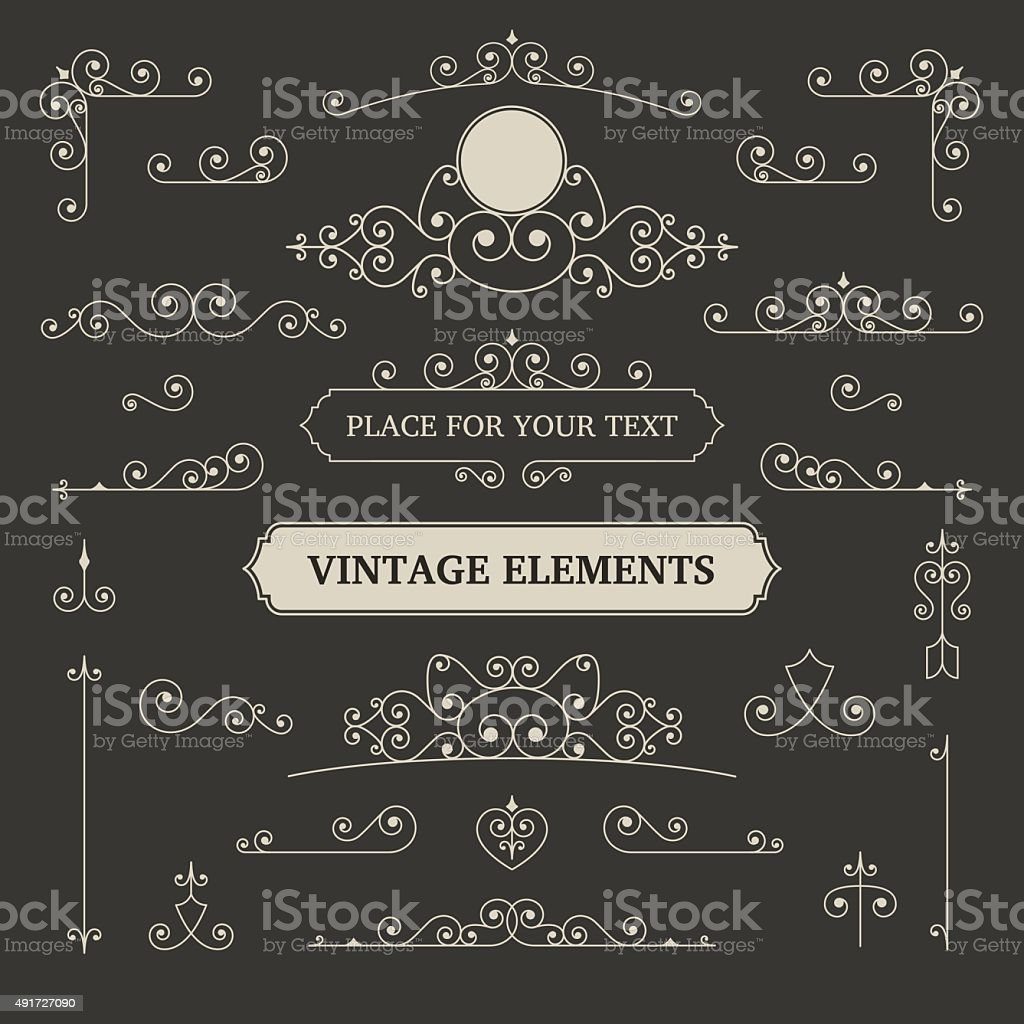 Vintage vector labels and scroll elements vector art illustration