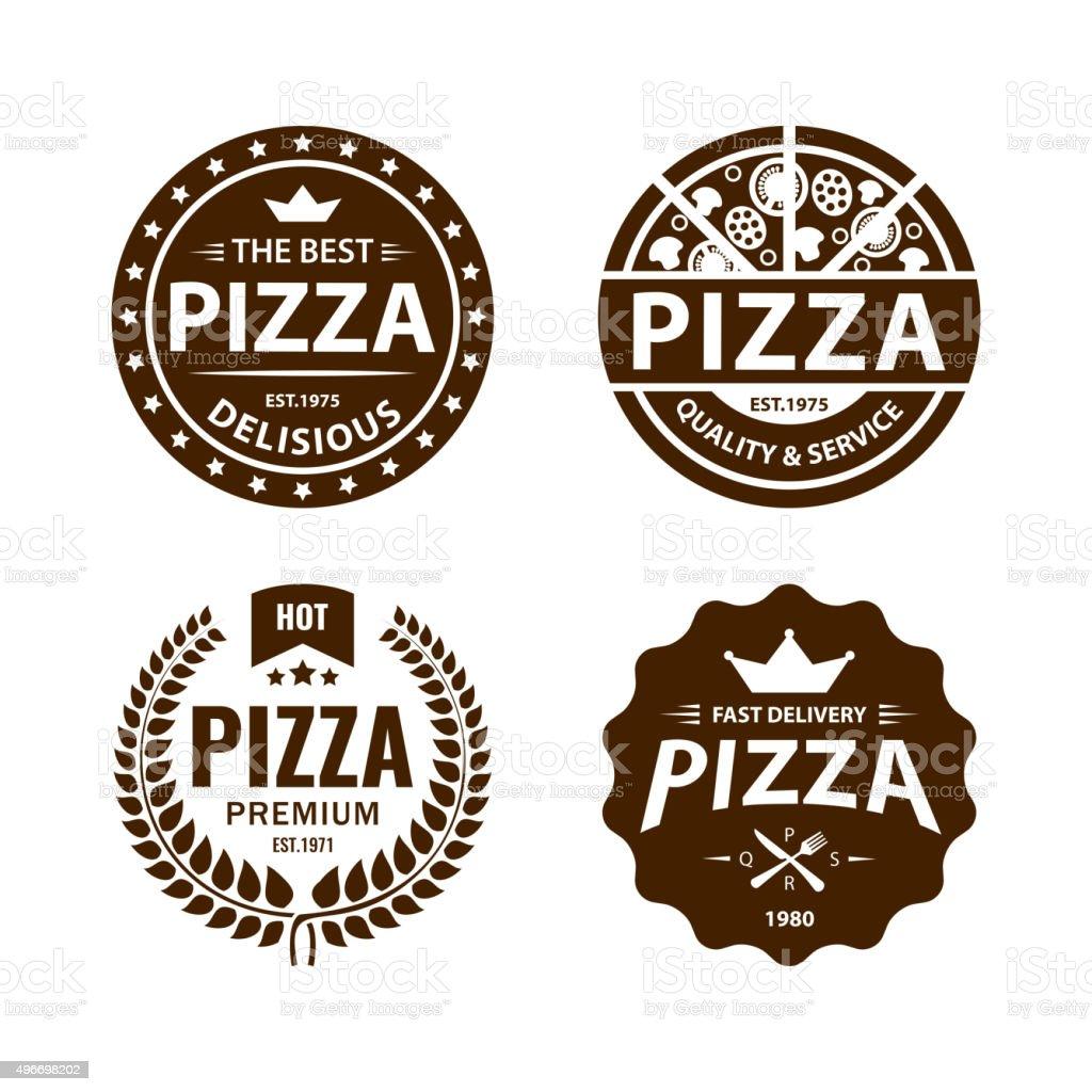 Vintage vector pizza label, badge set 2 vector art illustration