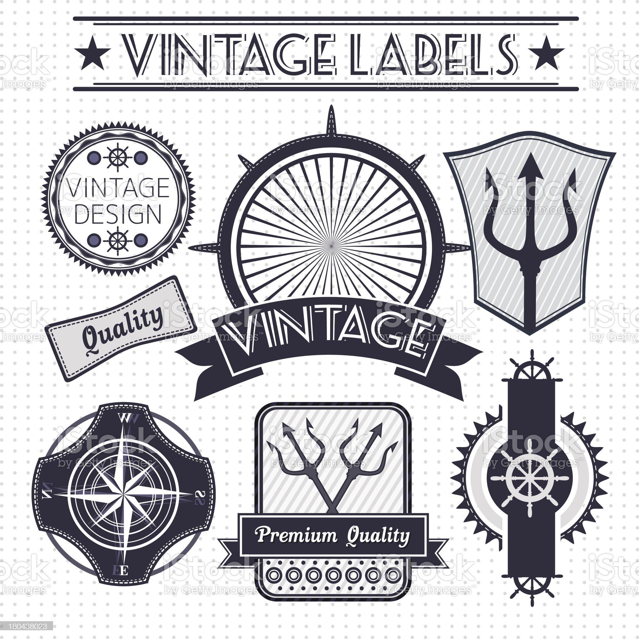 Vintage vector sail, nautical, travel labels royalty-free stock vector art
