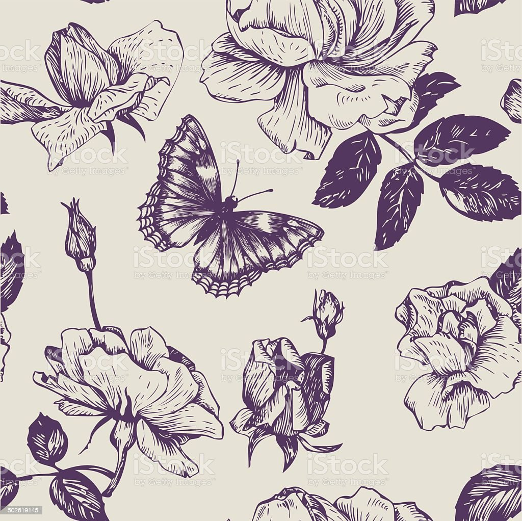vintage vector seamless floral pattern vector art illustration