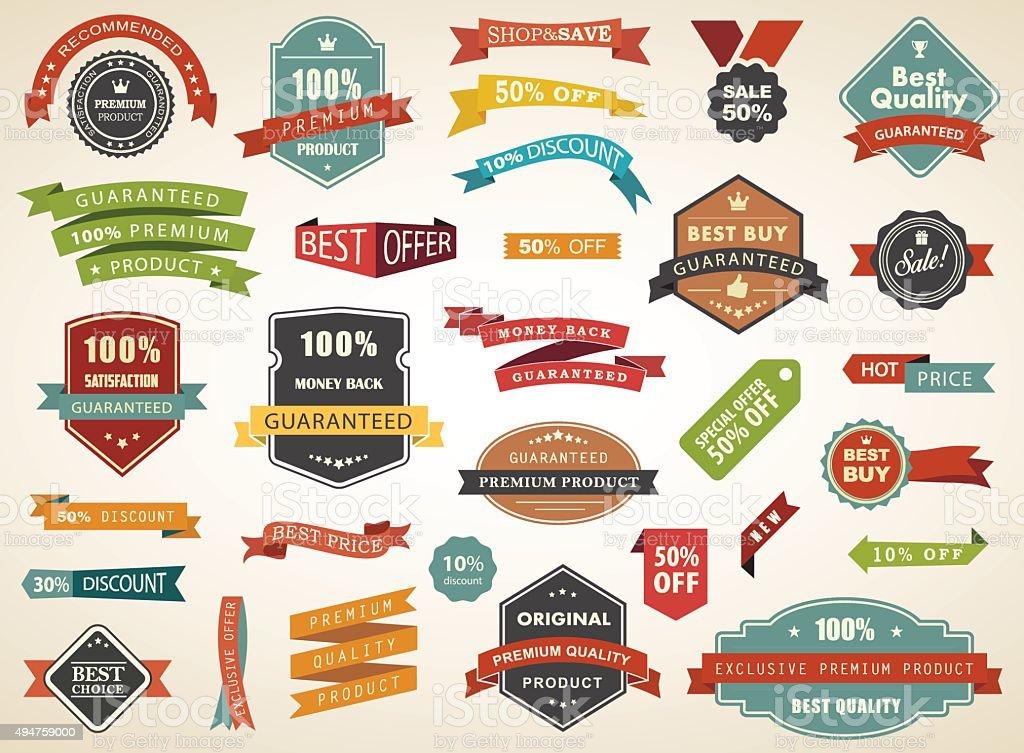 Vintage Vector Set of  Label Banner Tag Sticker Badge vector art illustration