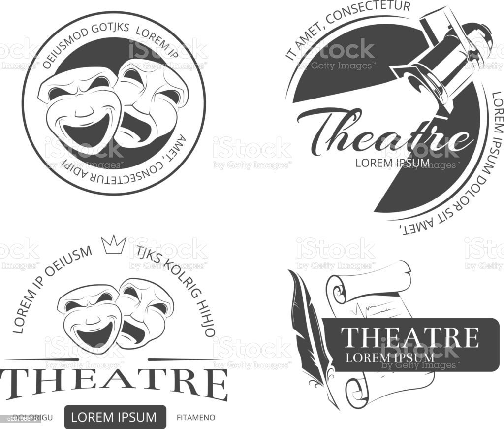 Vintage vector theatre labels, emblems, badges vector art illustration