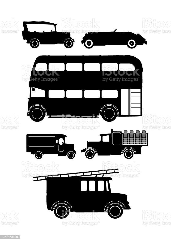 vintage vehicle silhouettes vector art illustration