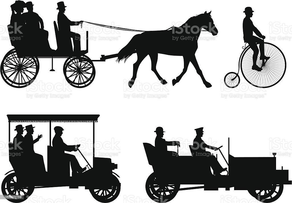 Vintage Vehicles vector art illustration