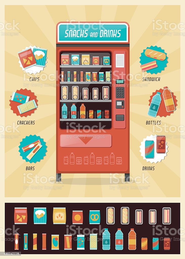 Vintage vending machine vector art illustration