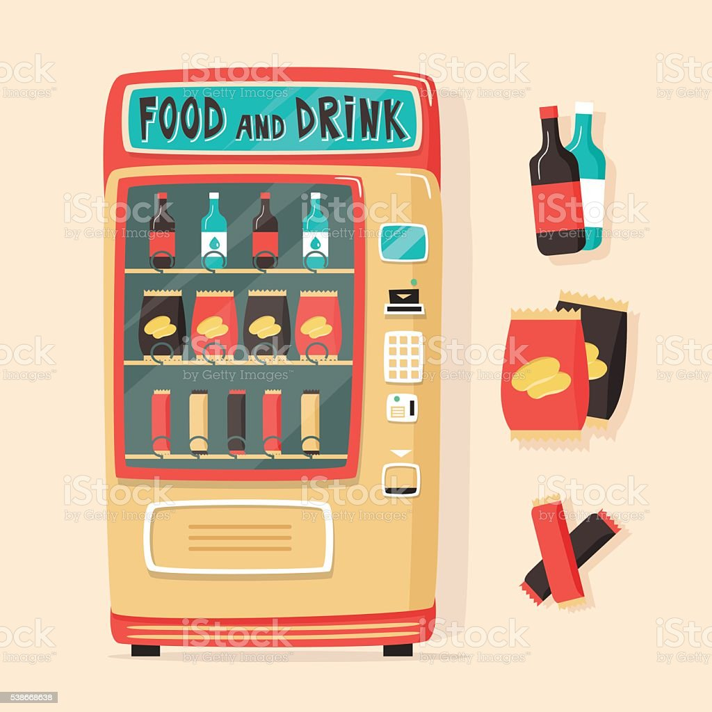 Vintage vending machine with food and drinks. Retro style vector art illustration