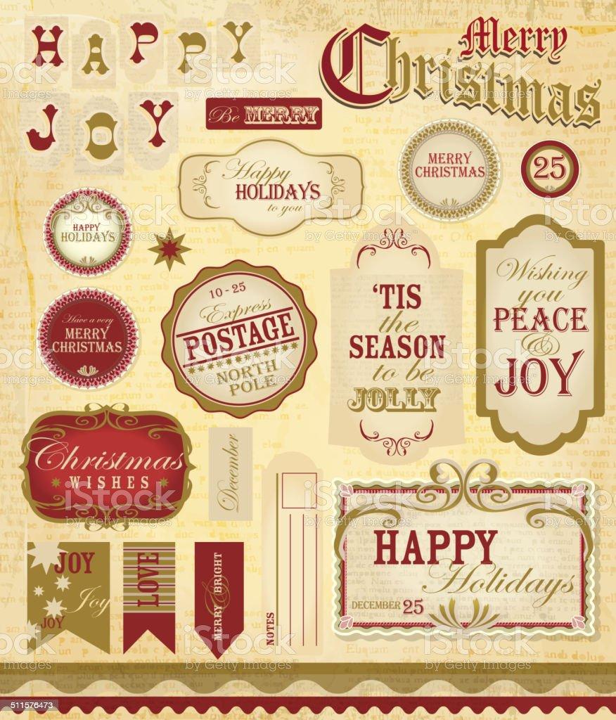 Vintage Victorian classic scrapbooking Christmas set label designs  paper background vector art illustration