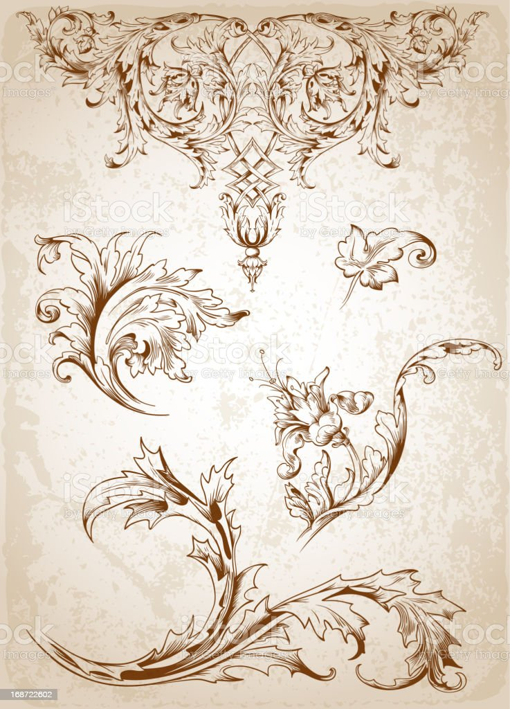 Vintage Victorian floral elements royalty-free stock vector art