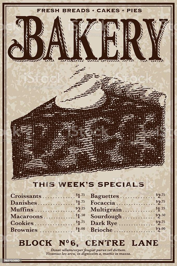 Vintage Victorian Style Bakery Advertisement vector art illustration