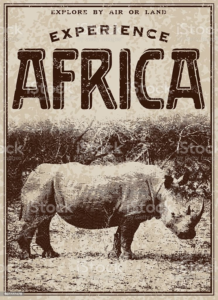 Vintage Victorian Style Classic Experience Africa Advertisement vector art illustration