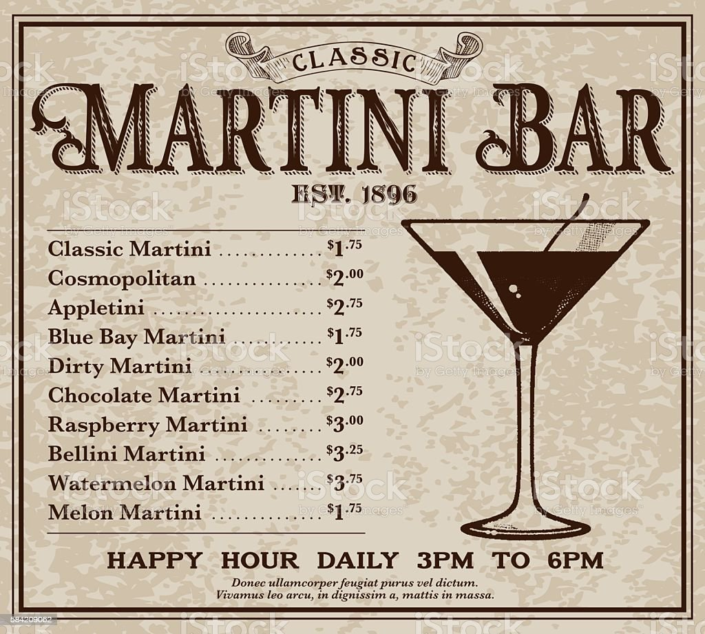 Vintage Victorian Style Classic Martini Bar Advertisement vector art illustration