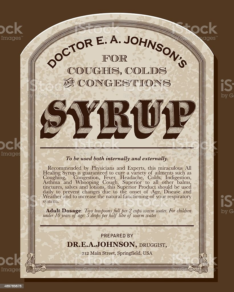 Vintage Victorian Style Cough Syrup Label vector art illustration