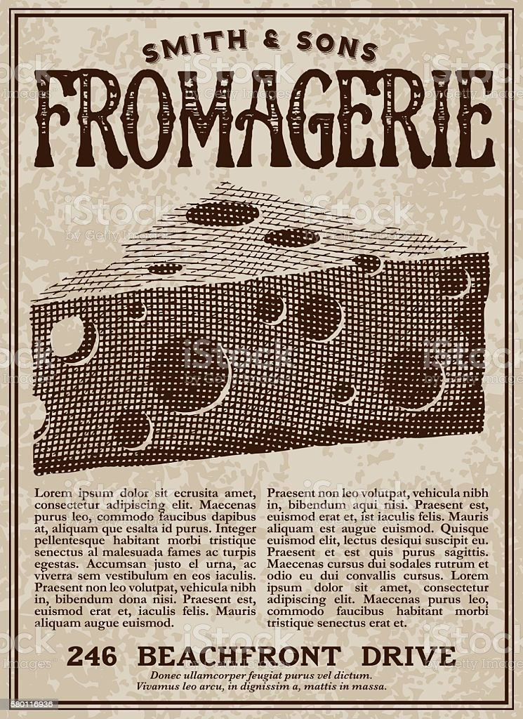 Vintage Victorian Style Fromagerie Cheese Shop Advertisement vector art illustration