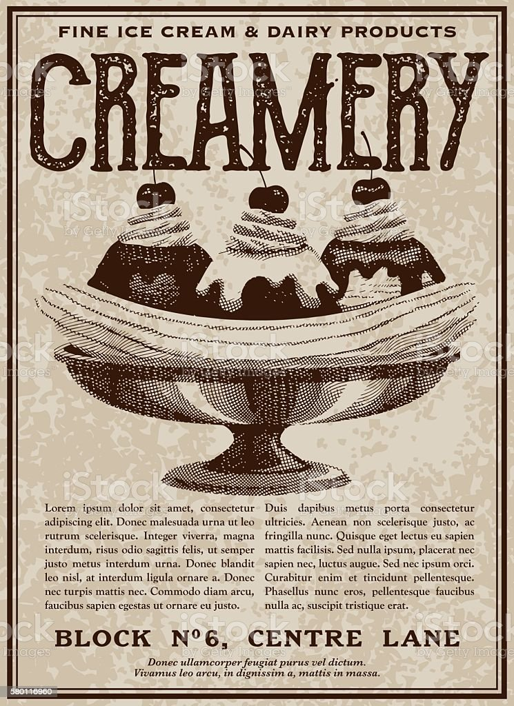 Vintage Victorian Style Ice Cream Shop Advertisement vector art illustration