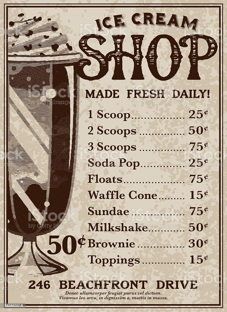 Vintage Victorian Style Ice Cream Shop Advertisement vector art illustration