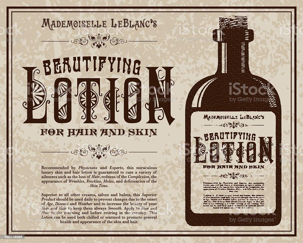 Vintage Victorian Style Lotion Advertisement vector art illustration