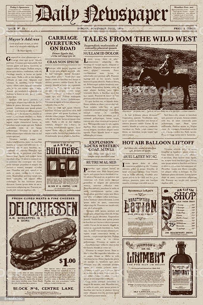 Vintage Victorian Style Newspaper Design Template Stock Vector Art