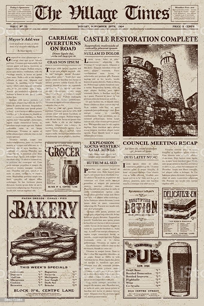 Vintage Victorian Style Newspaper Design Template vector art illustration