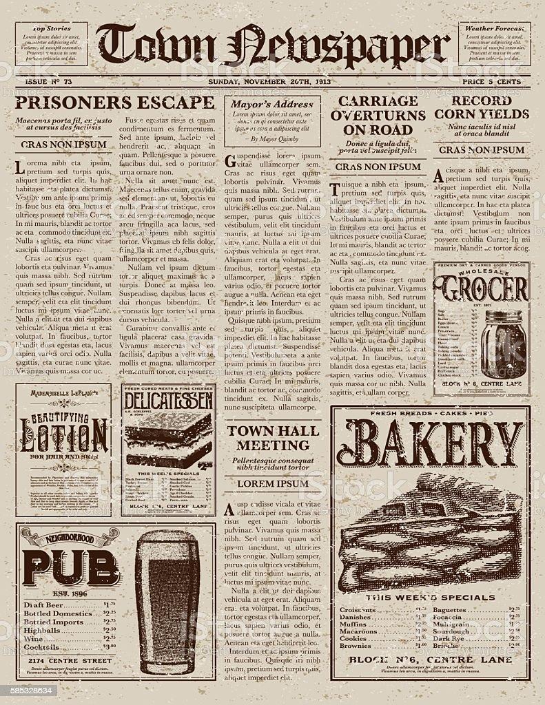 Vintage Victorian Style Newspaper Design Template stock ...