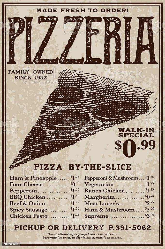 Vintage Victorian Style Pizzeria Advertisement vector art illustration