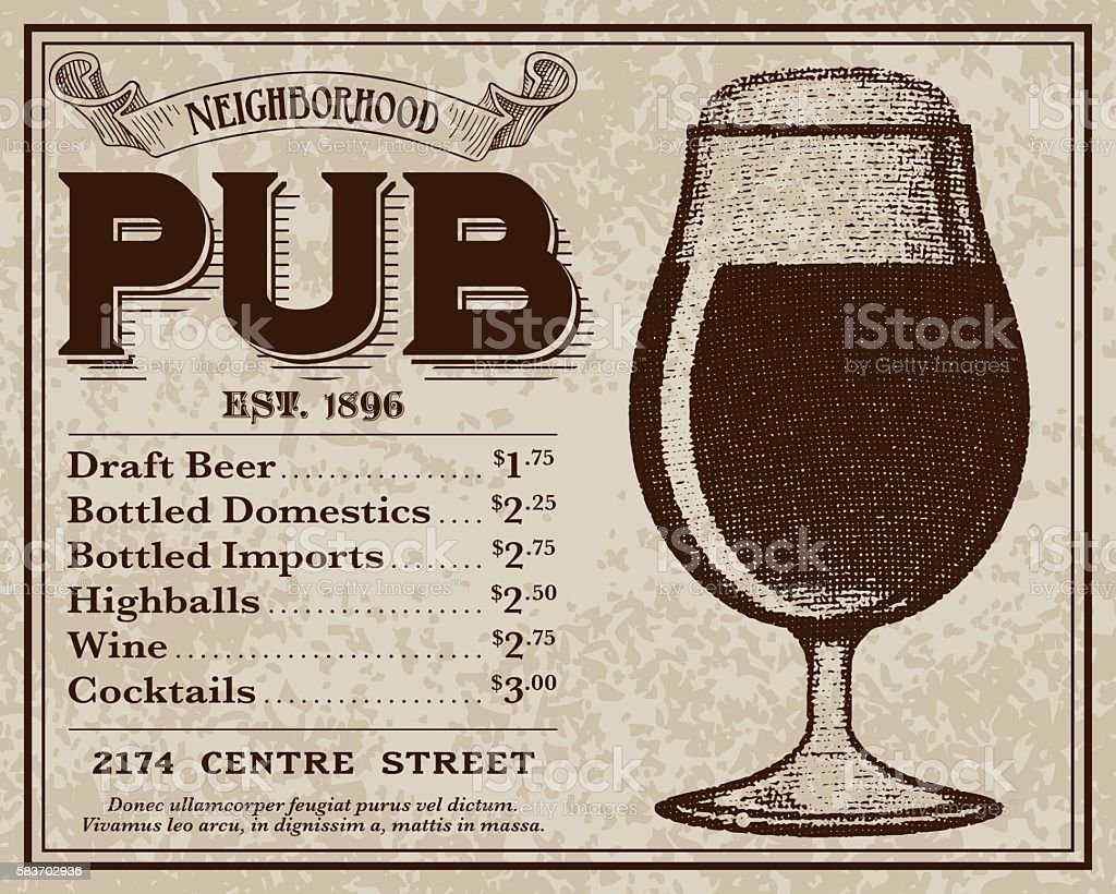 Vintage Victorian Style Pub Advertisement vector art illustration