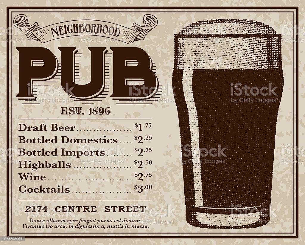 Vintage Victorian Style Pub Advertisement vector art illustration