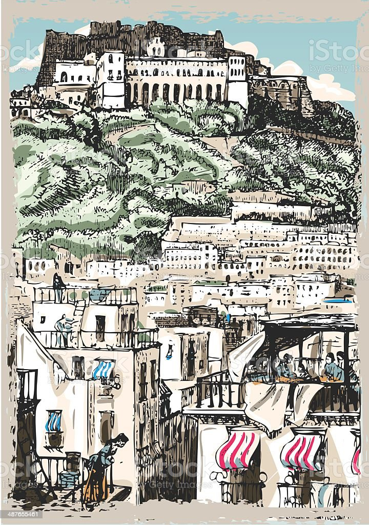 Vintage View of Castle and Palaces in Naples, Italy vector art illustration