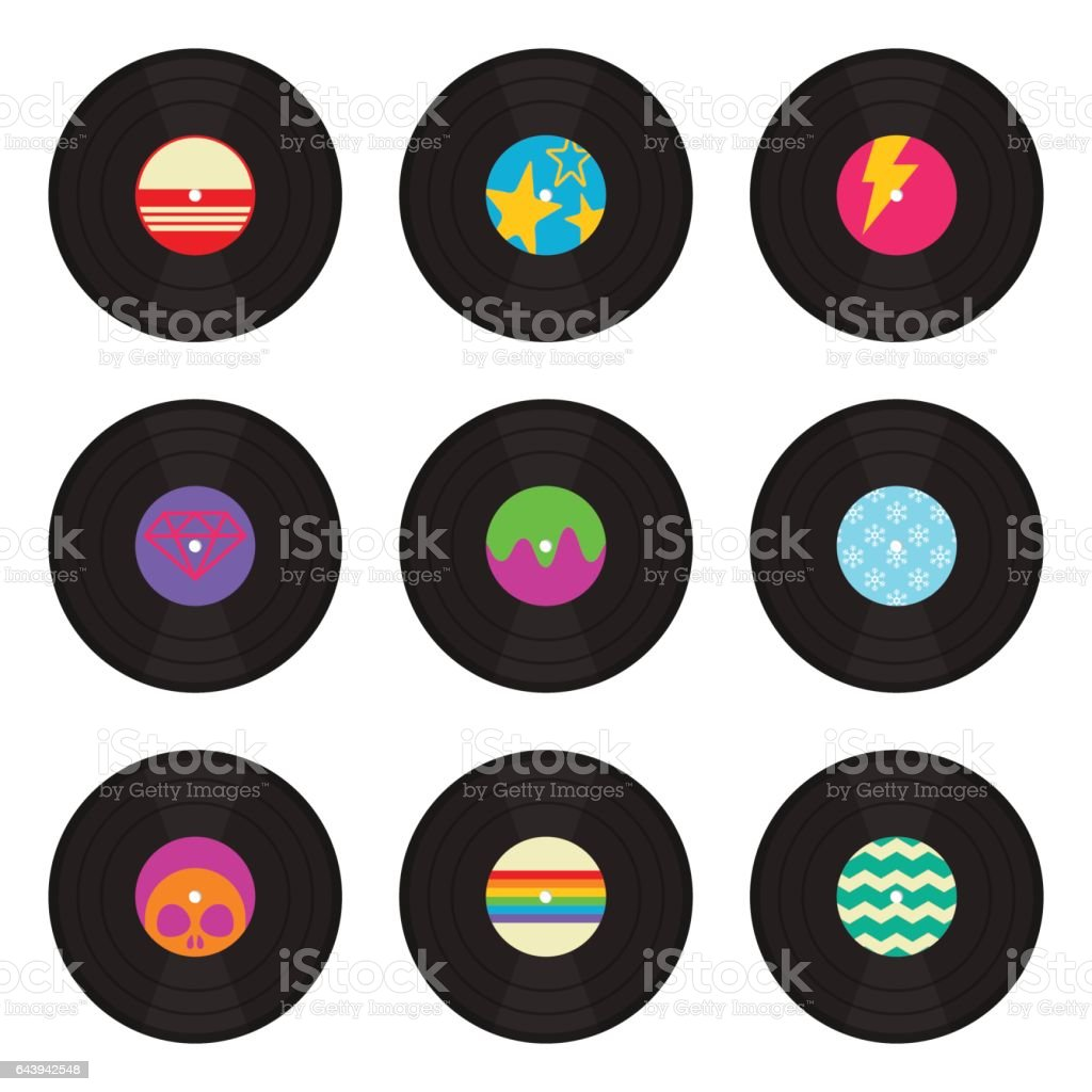 Vintage Vinyl Records Collection vector art illustration