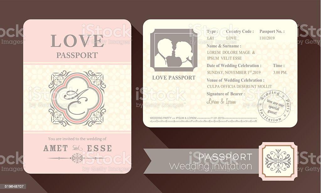 Vintage Visa Passport Wedding Invitation vector art illustration